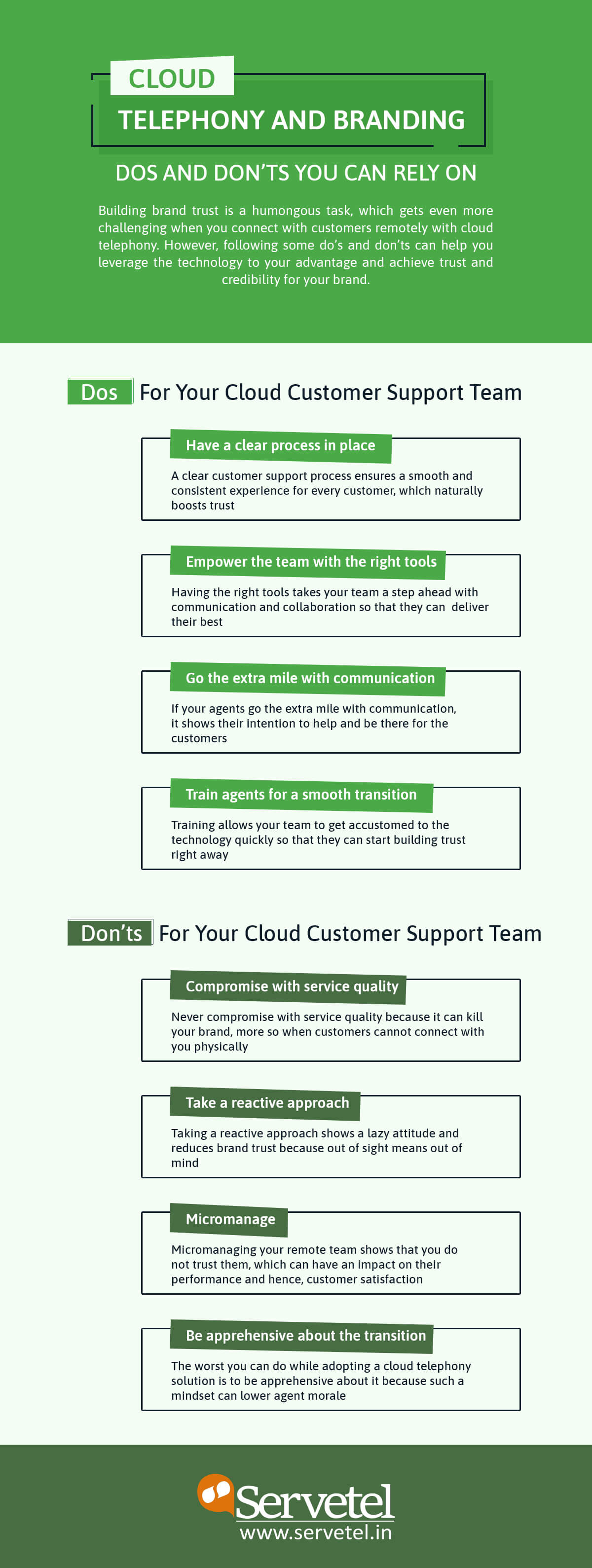 Infographic for dos and donts of branding with cloud telephony